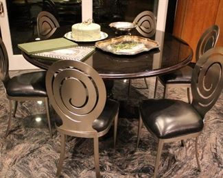 Round Table with 6 Cool Style Metal Chairs