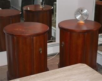 Pair of Round Wood Cabinets