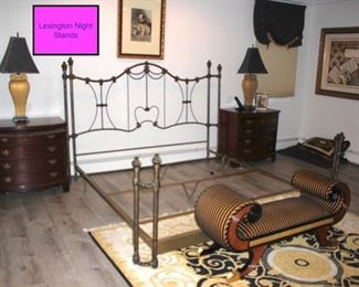 Pair of Lexington Night Stands, Metal Bed Frame, Cool Bench and Rug with Pair of Lamps