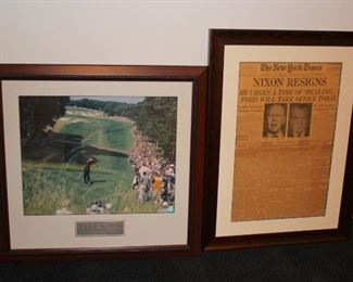 Poster and Framed Newspaper Clippings