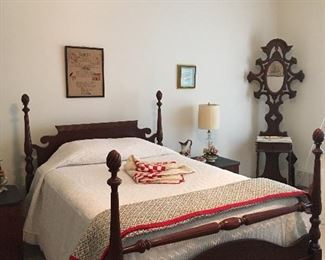 Antique Bed, Antique Hall Tree with Mirror, Antique Needlepoint Samplers, Chenille Bedspread, Antique Quilts.