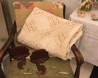Antique Quilts, Antique Chair.