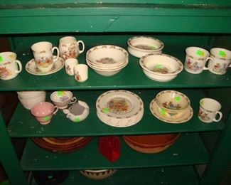 Bunnykins cups, saucers, plates and dishes.
