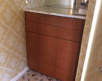 (2) custom built-in cabinets 36 X 44 1/2 marble top.