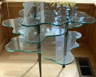 Scalloped edge glass table