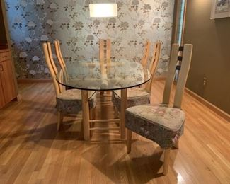 Danish Bamboo Glass top table and 6 upholstered chairs