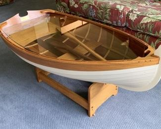 Glass top wooden boat table with oars Handcrafted by Wood N Stuff
