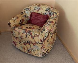Danish Swivel chair with custom Italian linen slip cover.