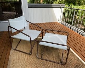 Outdoor metal and fabric chair and foot rest