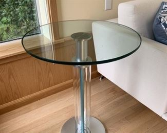 Italian glass top table with metal base
