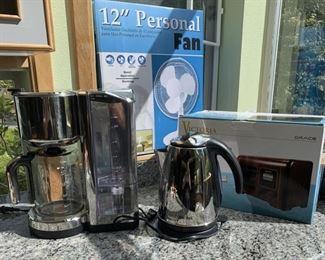 Russel Hobbs Coffee maker, electric kettle, Victoria Radio, Fan