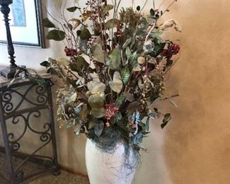 Large Silk Flower Arrangement In Pottery Vase; Total Height Approximately 6'