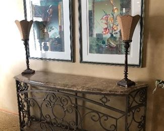 Iron Console With Calais Marble Top; Metal Table Lamps; 2 Framed Signed March Original Artwork Numbered # 24&27