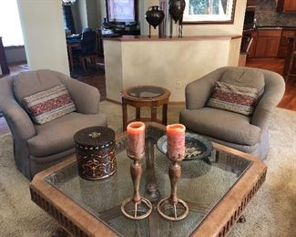 "Custom Upholstered Side Chairs; 44"" Square Glass Top Coffee Table; 24"" Round Drexel Glass Top Side Table"