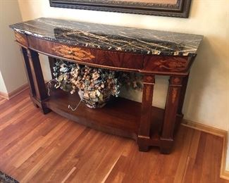 "Henredon Console Table With Marble Top 65""L x 22"" x 36.5""H; Large Silk Floral Arrangement"