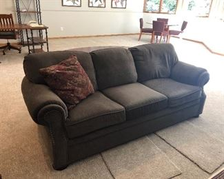 "Custom Upholstered With Brass Tacks Couch 88""L"
