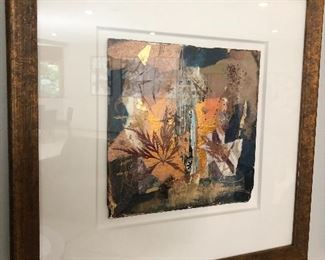 Signed Marlene Lenker Framed Abstract Collage