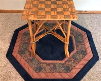 4' x 4' Wool Octagon Rug; Checkerboard Game Table