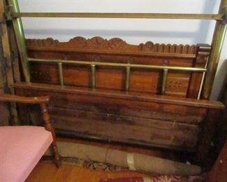 antique beds, one brass, one Eastlake walnut
