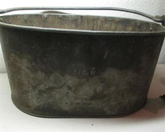antique fire  bucket marked  NW railroad