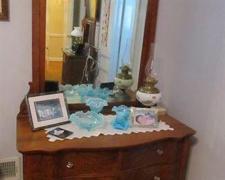 oak serpentine dresser with mirror