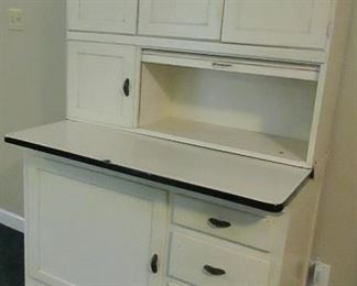 white Hoosier cabinet, complete, all original