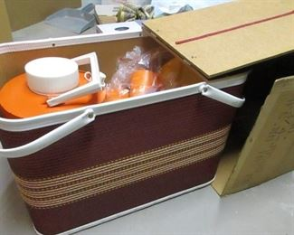 new in box 1960's picnic basket and dishes