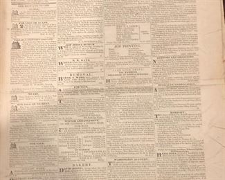 1833 issue of the Newark daily advertiser. Very interesting ads and stories March 9, 1833