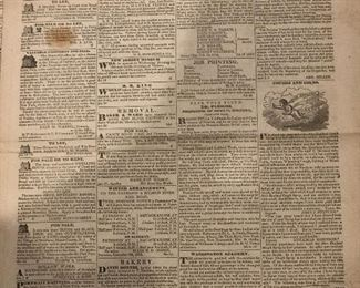 1833 issue of the Newark daily advertiser. Very interesting ads and stories March 5, 1833