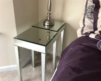 pair of mirrored end tables or nightstands