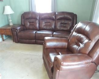 Leather-Like Sofa and Chair, End Table, Lamp