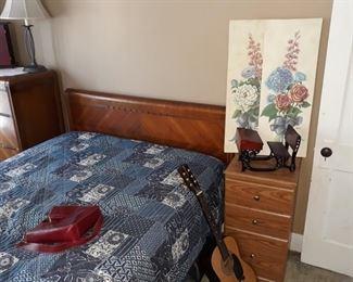 Art Deco Bed, Nightstand, Guitar, Wall Hangings