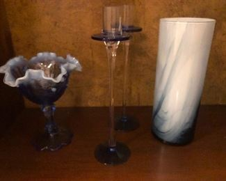 inside out sea urchin on the left there. Candle sticks. Milky glass