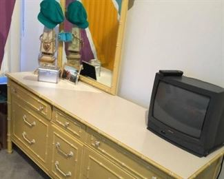 Thomasville 1960's allegro vintage yellow faux bamboo 3 piece dresser mirror & side table  in most excellent condition