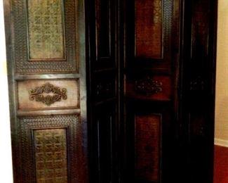 ornate antique wooden folding screen