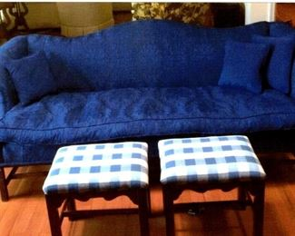 Blue brocade Chippendale style sofa & pair of footstools