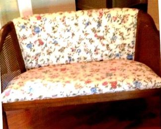 1970s settee with caned sides