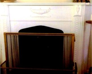 White, full-size faux fireplace