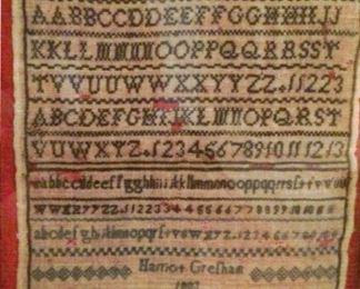 Framed antique ABC Sampler dated 1883
