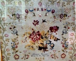 Beautiful framed signed and dated (1853) needlepoint