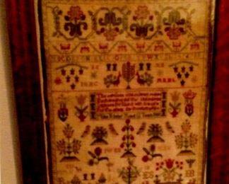 Antique framed & dated sampler
