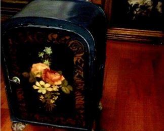 Antique tole painted cabinet