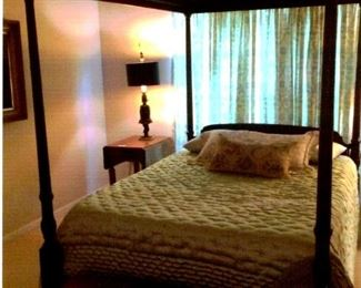 Mahogany queen size canopy bed, also queen size Temperpedic (like new) mattress & box springs.