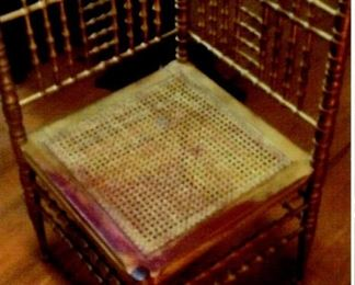 Victorian caned corner chair (child size)