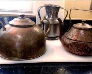 Vintage copper tea kettles & pewter handled jug