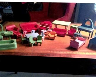 Lots of vintage wooden doll house furniture