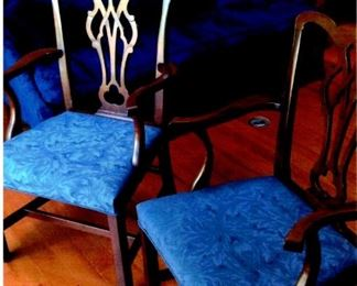 Pair of Chippendale-style dining chairs with blue brocaded seats