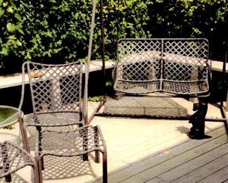 Brown Jordan patio furniture - swing, chairs, foot rest & black Scottie door stop