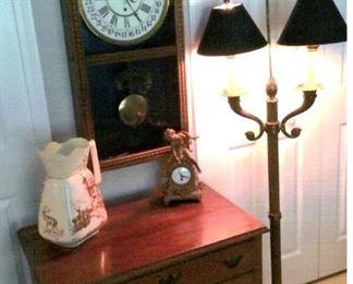 Regulator pendulum wall clock, Brass candle lamp, ornate clock & vintage pitcher