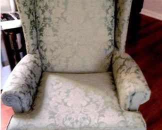 Vintage Wing-back chair with pale green brocade upholstery